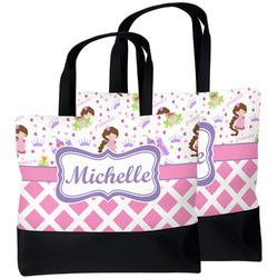 Princess & Diamond Print Beach Tote Bag (Personalized)