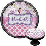 Princess & Diamond Print Cabinet Knob (Black) (Personalized)