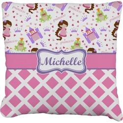 "Princess & Diamond Print Faux-Linen Throw Pillow 16"" (Personalized)"