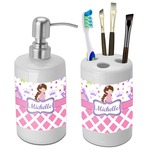 Princess & Diamond Print Bathroom Accessories Set (Ceramic) (Personalized)