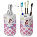 Princess & Diamond Print Bathroom Accessories Set (Ceramic) (Personalized)