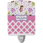Princess & Diamond Print Ceramic Night Light (Personalized)