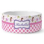 Princess & Diamond Print Ceramic Dog Bowl (Personalized)