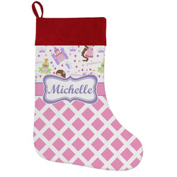 Princess & Diamond Print Holiday Stocking w/ Name or Text
