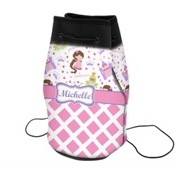 Princess & Diamond Print Neoprene Drawstring Backpack (Personalized)