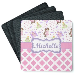 Princess & Diamond Print 4 Square Coasters - Rubber Backed (Personalized)