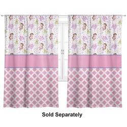 "Princess & Diamond Print Curtains - 20""x84"" Panels - Lined (2 Panels Per Set) (Personalized)"
