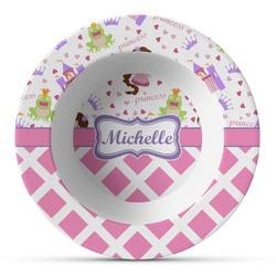 Princess & Diamond Print Plastic Bowl - Microwave Safe - Composite Polymer (Personalized)