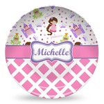 Princess & Diamond Print Microwave Safe Plastic Plate - Composite Polymer (Personalized)