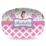 Princess & Diamond Print Plastic Platter - Microwave & Oven Safe Composite Polymer (Personalized)