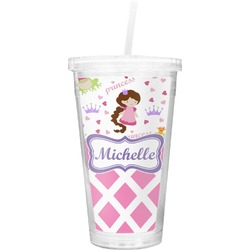 Princess & Diamond Print Double Wall Tumbler with Straw (Personalized)