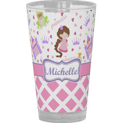 Princess & Diamond Print Drinking / Pint Glass (Personalized)
