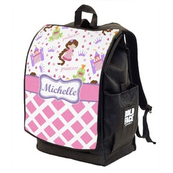 Princess & Diamond Print Backpack w/ Front Flap  (Personalized)
