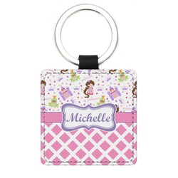 Princess & Diamond Print Genuine Leather Rectangular Keychain (Personalized)