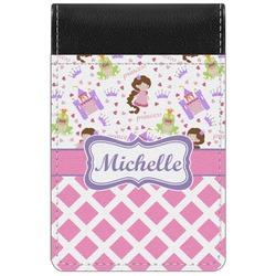 Princess & Diamond Print Genuine Leather Small Memo Pad (Personalized)