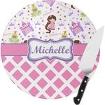 Princess & Diamond Print Round Glass Cutting Board (Personalized)