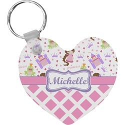 Princess & Diamond Print Heart Keychain (Personalized)