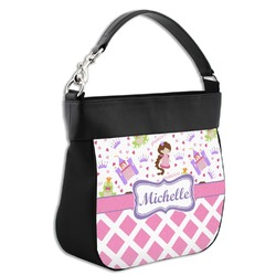 Princess & Diamond Print Hobo Purse w/ Genuine Leather Trim w/ Name or Text