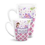 Princess & Diamond Print Latte Mug (Personalized)