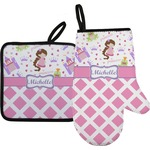Princess & Diamond Print Oven Mitt & Pot Holder (Personalized)