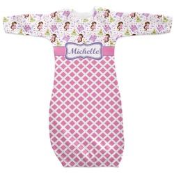Princess & Diamond Print Newborn Gown (Personalized)