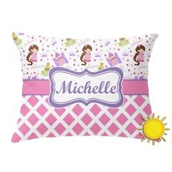 Princess & Diamond Print Outdoor Throw Pillow (Rectangular) (Personalized)