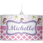 Princess & Diamond Print Drum Pendant Lamp (Personalized)
