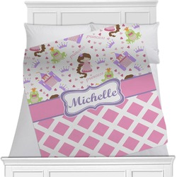 "Princess & Diamond Print Fleece Blanket - Twin / Full - 80""x60"" - Double Sided (Personalized)"