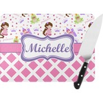 Princess & Diamond Print Rectangular Glass Cutting Board (Personalized)
