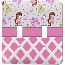 Princess & Diamond Print Light Switch Cover (2 Toggle Plate) (Personalized)