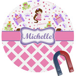 Princess & Diamond Print Round Fridge Magnet (Personalized)