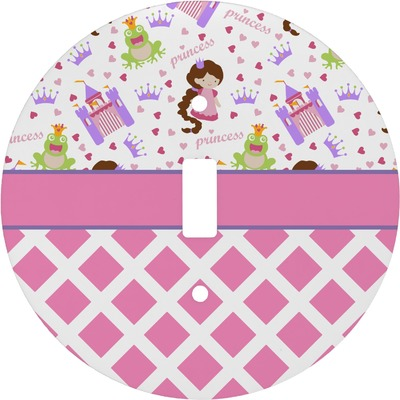 Princess & Diamond Print Round Light Switch Cover (Personalized)