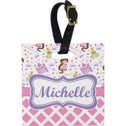 Princess & Diamond Print Plastic Luggage Tag - Square w/ Name or Text