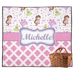 Princess & Diamond Print Outdoor Picnic Blanket (Personalized)