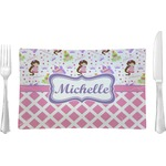 Princess & Diamond Print Glass Rectangular Lunch / Dinner Plate - Single or Set (Personalized)
