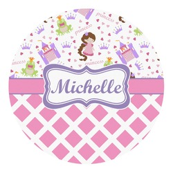 Princess & Diamond Print Round Decal (Personalized)