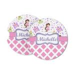 Princess & Diamond Print Sandstone Car Coasters (Personalized)