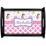 Princess & Diamond Print Black Wooden Tray (Personalized)