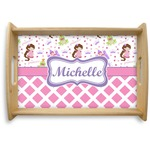Princess & Diamond Print Natural Wooden Tray (Personalized)