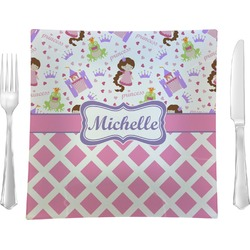 "Princess & Diamond Print Glass Square Lunch / Dinner Plate 9.5"" - Single or Set of 4 (Personalized)"
