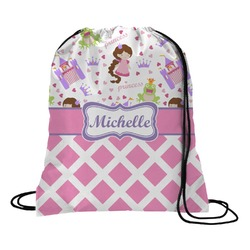 Princess & Diamond Print Drawstring Backpack (Personalized)