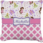 Princess & Diamond Print Burlap Throw Pillow (Personalized)