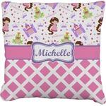 Princess & Diamond Print Faux-Linen Throw Pillow (Personalized)