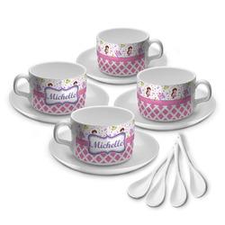 Princess & Diamond Print Tea Cup - Set of 4 (Personalized)