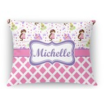 Princess & Diamond Print Rectangular Throw Pillow (Personalized)