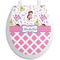 Princess & Diamond Print Toilet Seat Decal - Round (Personalized)