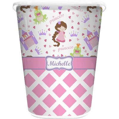 Princess & Diamond Print Waste Basket - Double Sided (White) (Personalized)