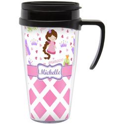 Princess & Diamond Print Travel Mug with Handle (Personalized)