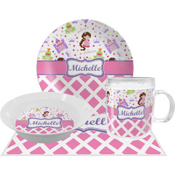Princess & Diamond Print Dinner Set - 4 Pc (Personalized)