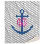 Monogram Anchor Sherpa Throw Blanket (Personalized)